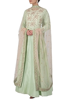 Mint Green Embroidered Anarkali Set by Himani And Anjali Shah