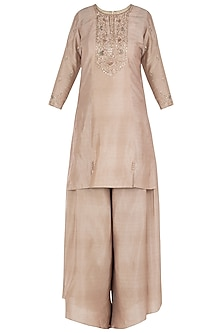 Beige Embroidered Kurta Set by Himani And Anjali Shah