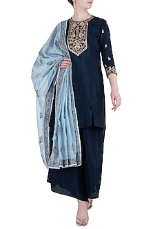 Navy Blue Embroidered Kurta Set by Himani And Anjali Shah