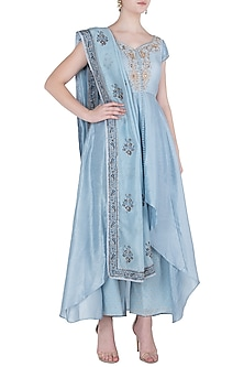 Powder Blue Jacket with Pants and Dupatta by Himani And Anjali Shah