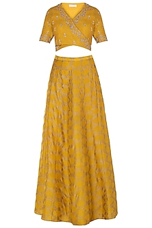 Mustard Embroidered Crop Top with Skirt and Dupatta by Himani And Anjali Shah