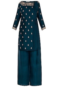 Cobalt Overlap Kurta with Flared Pants by Himani And Anjali Shah