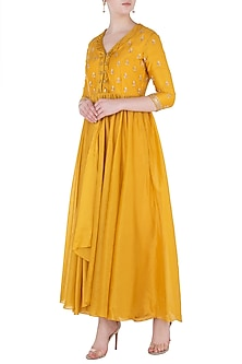 Mustard Embroidered Anarkali with Pants by Himani And Anjali Shah