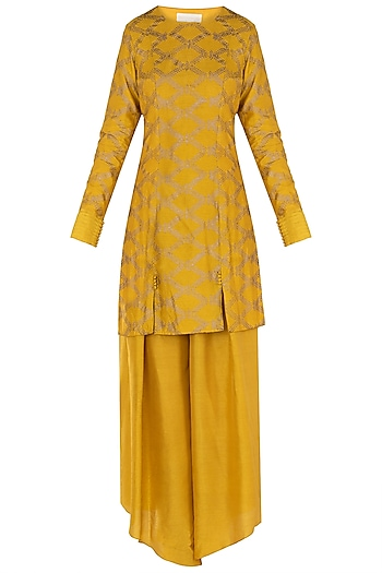 Mustard Embroidered Kurta with High Low Pants by Himani And Anjali Shah