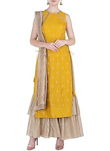 Mustard Embroidered Kurta with Layered Pants and Dupatta by Himani And Anjali Shah