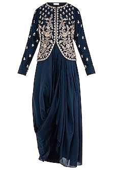 Navy Blue Embroidered Jacket by Himani And Anjali Shah