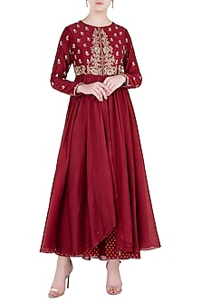 Red Embroidered Anarkali with Pants by Himani And Anjali Shah