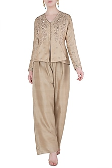 Beige Embroidered Jacket with Flared Pants by Himani And Anjali Shah
