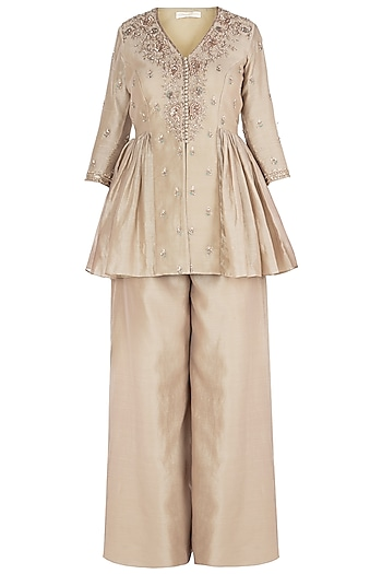 Beige Embroidered Jacket with Pants by Himani And Anjali Shah
