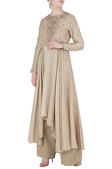 Beige Front Open Jacket with Pants by Himani And Anjali Shah