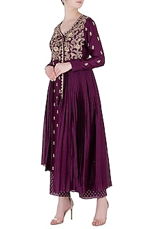 Wine Front Open Embroidered Jacket with Pants by Himani And Anjali Shah