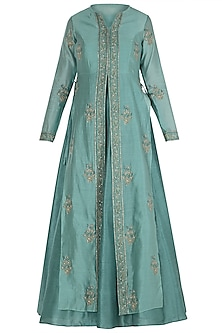 Sea Green Block Printed Jacket with Anarkali by Himani And Anjali Shah