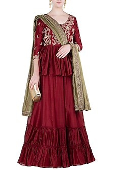 Red Embroidered Kurta with Skirt and Dupatta by Himani And Anjali Shah