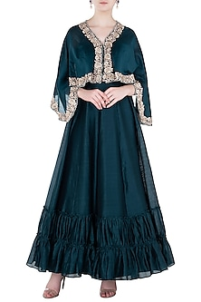 Navy Blue Embroidered Cape with Tiered Skirt by Himani And Anjali Shah