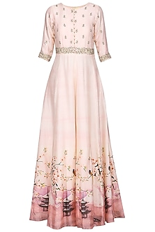 Salmon Pink Zardozi Embroidered Anarkali Gown by Himani And Anjali Shah