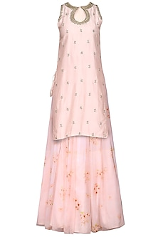 Salmon Pink Embroidered Kurta with Skirt and Dupatta by Himani And Anjali Shah