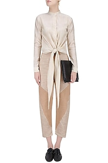 Matte Gold Back Tie Turban Top by House of Sohn