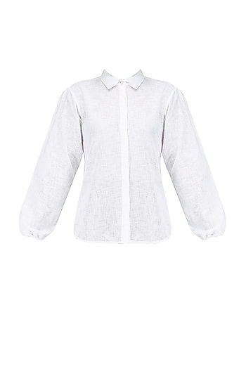 White Button Down Wide Arm Shirt by House of Sohn