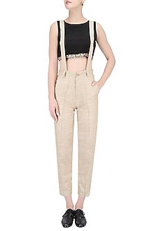 Brown and White Specked Pants with Suspenders by House of Sohn
