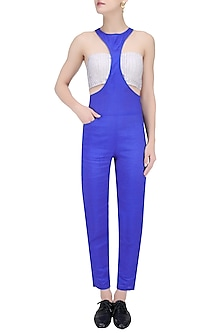 Moroccan Blue Racerfront Jumpsuit by House of Sohn