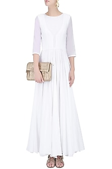 White Pleated and Flared Maxi Dress by House of Sohn