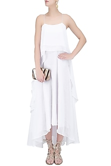 White Layered Long Strappy Dress by House of Sohn