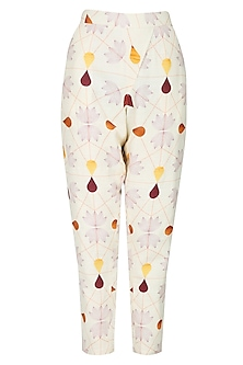 Cream multcoloured droplet pants by House of Sohn