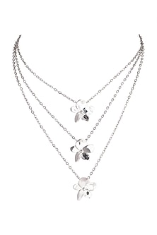 White Finish Multi-Layered Necklace by Heritance Jewellery