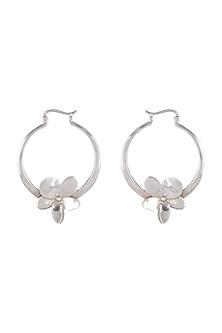 White Finish Frangipani Floral Hoop Earrings by Heritance Jewellery