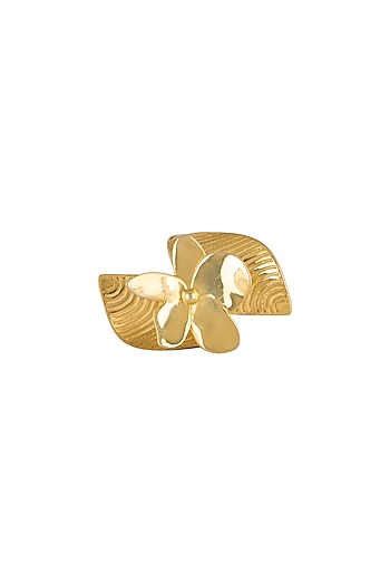 Micro Gold Finish Frangipani Floral Ring by Heritance Jewellery