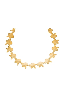Micro Gold Plated Floral Choker Necklace by Heritance Jewellery