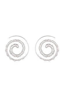 White Finish Embossed Spiral Earrings by Heritance Jewellery