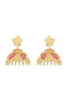 Gold Plated Hot Pink Enameled Jhumka Earrings by Heritance Jewellery