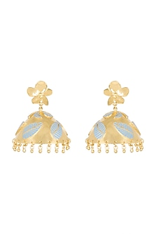 Gold Plated Baby Blue Enameled Jhumka Earrings by Heritance Jewellery