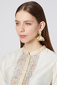 Gold Plated Enameled Jhumka Earrings by Heritance Jewellery