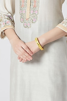 Gold Plated Yellow Enameled Bangle by Heritance Jewellery