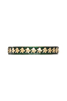 Gold Plated Bottle Green Enameled Bangle by Heritance Jewellery
