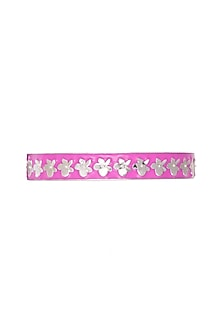 White Finish Hot Pink Enameled Bangle by Heritance Jewellery