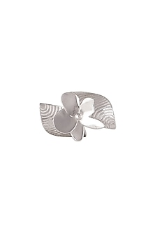 White Finish Big Floral Ring by Heritance Jewellery