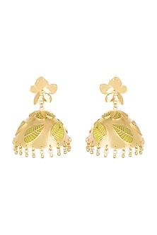 Gold Plated Green Enameled Jhumka Earrings by Heritance Jewellery
