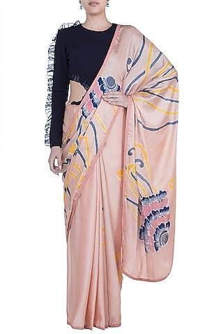 Peach Hand Painted Saree Set by House of Tamarind