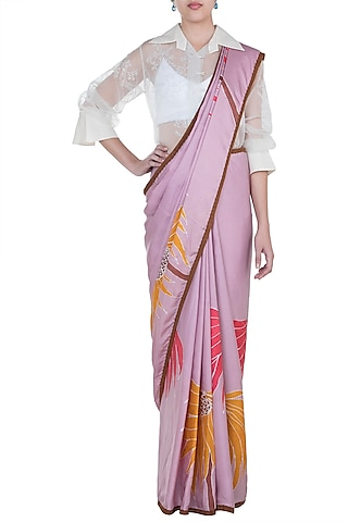 Mauve Hand Painted Saree Set by House of Tamarind