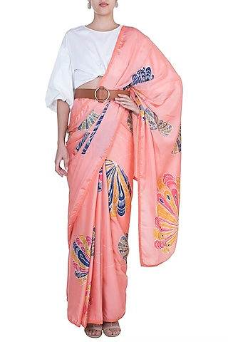 Orange Hand Painted Saree Set by House of Tamarind