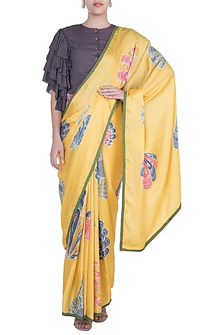 Yellow Hand Painted Saree Set by House of Tamarind