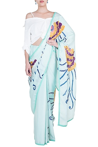 Aqua Blue Hand Painted Saree Set by House of Tamarind