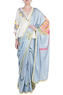 Greyish Blue Hand Painted Saree Set by House of Tamarind