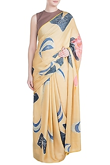 Mustard Hand Painted Lace Saree Set by House of Tamarind