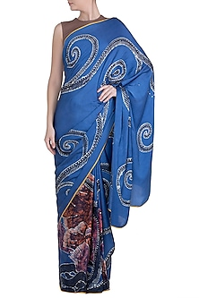 Blue Hand Painted Lace Saree Set by House of Tamarind