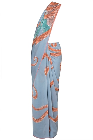 Greyish Hand Painted Lace Saree Set by House of Tamarind