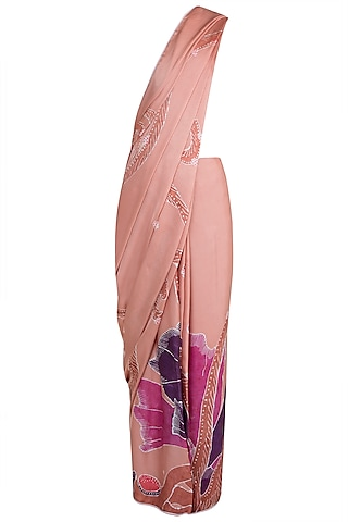 Peach Hand Painted Lace Saree Set by House of Tamarind